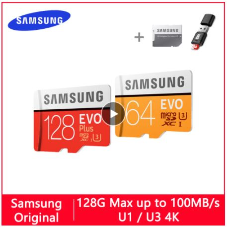 Флэш-карта (карта памяти) MicroSD для телефона. SAMSUNG EVO Micro SD 128 ГБ 32 ГБ 64 Гб 256 ГБ 512 ГБ U1 U3