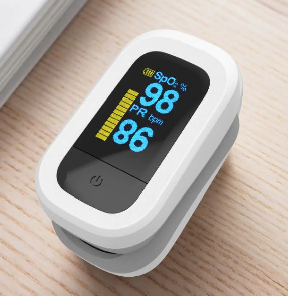 Цифровой пальчиковый пульсоксиметр. Прибор для измерения пульса и уровня кислорода в крови
