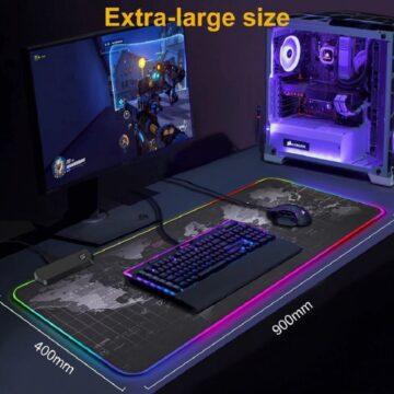 Игровой коврик для мыши, большой компьютерный коврик для мышки с RGB