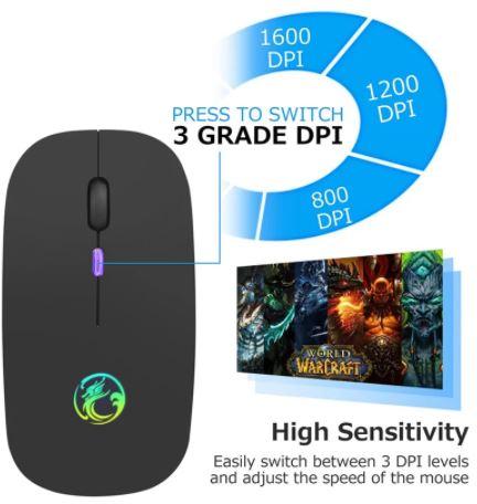 Мышь компьютерная беспроводная, бесшумная,  светодиодная подсветка, 800 / 1200 / 1600 DPI
