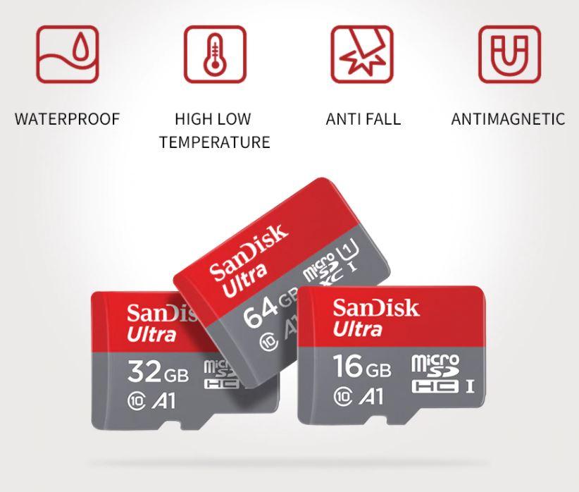 Карта памяти Sandisk Ultra Micro SD на 16 ГБ 32ГБ 64 ГБ 128 ГБ 256