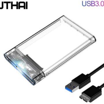 Корпус для жесткого диска USB3.0 / 2.0. Для 2,5 SATA: SSD, HDD. Прозрачный бокс