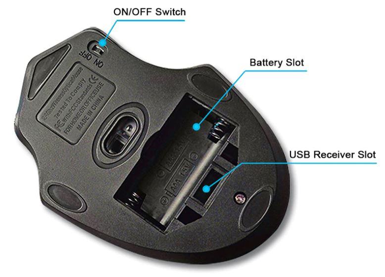 Беспроводная мышь Wi-Fi 2,4 ГГц для компьютера, ноутбука. Игровая, 2000 DPI