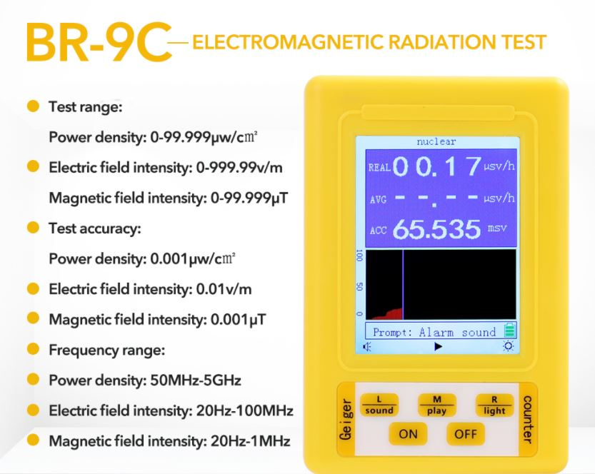Купить дозиметр BR-9C 2в1: измерение радиации и электромагнитное излучение